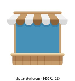 icon storefront shop brown awning roof, mini market store shop wooden with awnings, template symbol shop online, clip art flat wood grocery facade for online shopping, illustration brown shop front