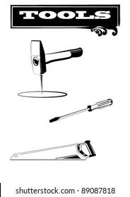 Icon style b/w tool kit. Plain Illustrator 8.0 compatible .eps file.