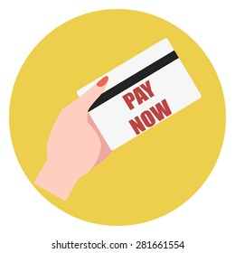 """Icon style flat design, hand holding a card with the inscription """"pay now"""""""