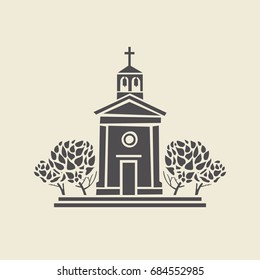 Icon of a stylized bell tower with trees. Flat vector isolated silhouette.