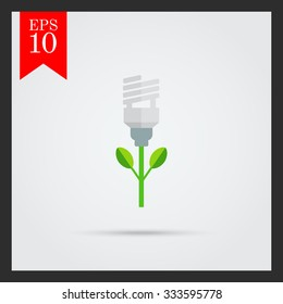 Icon of stylized green fluorescent lamp flower