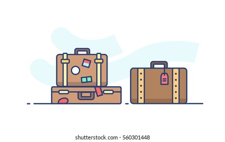 Icon suitcase with things in flat style on white background