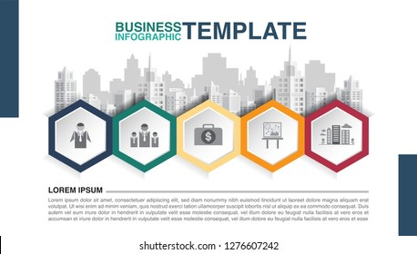 Icon and symbol on hexagon banner for business infographic, vector illustration graphic