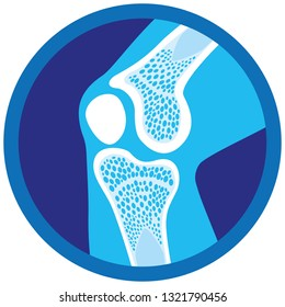 Icon or symbol of orthopedic health, knee, joints. Ideal for informative and institutional materials of medicine