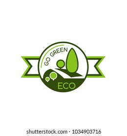Icon with symbol of saving world environment. Eco and green concept badge. Symbol of green trees and save nature. Sign for eco company, ecology concept