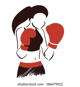 Icon with symbolic boxing woman in mufflers. Isolated vector