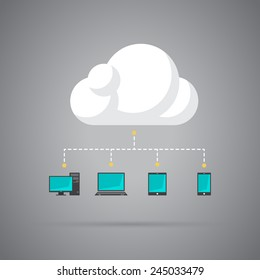Icon symbolizing cloud computing in vector