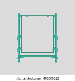 Icon of table for object photography. Gray background with green. Vector illustration.