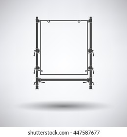 Icon of table for object photography on gray background, round shadow. Vector illustration.