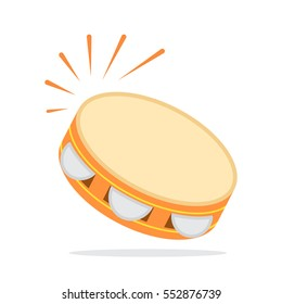 Icon Tambourine in a flat style for the web. vector illustration isolate on a white background. easy to use