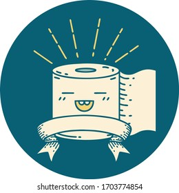 icon of a tattoo style toilet paper character