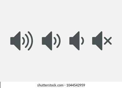 An icon that increases and reduces the sound. Icon showing the mute. A set of sound icons with different signal levels in a flat style. Vector.