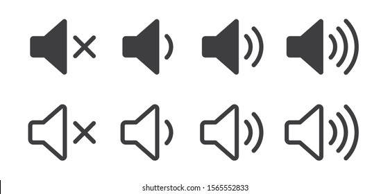 An icon that increases and reduces the sound. Icon showing the mute. A set of sound icons with different signal levels in a flat style. Vector