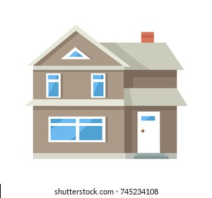 Icon of three storey house of grey color with white front door and big window on ground floor isolated vector illustration on white background