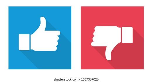 Icon thumb up and thumb down. Like and dislike sign design - Vector