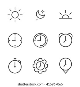 icon time and clock, vector illustration