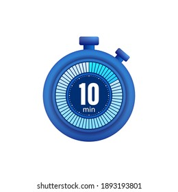 Icon of a timer with 10 minutes on the white background. Vector illustration.