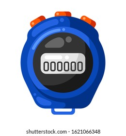Icon of timer stopwatch in flat style. Stylized sport equipment illustration.