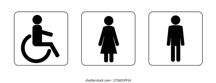 The Icon Of The Toilet. Men's, women's, for persons with Disabilities. Bathroom vector. Illustration of the Wc symbol. Vector graphics isolated on a white background.