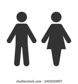 Icon toilet. Restroom sign. Male and female bathroom sign. Black abstract symbols of man and women in flat style isolated on white background. Vector illustration.