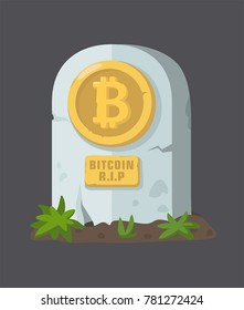 Icon tombstone with coin of electronic currency. On the tombstone a sign with the inscription: R.I.P.