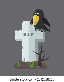 Icon of a tombstone in the form of a cross. On the gravestone sits a black crow.