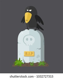 Icon of a tombstone with a skull. On the gravestone sits a black crow.