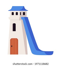 Icon of tower water slide for kids. Attraction for amusement in aqua park, pool or on beach. Fun summer children leisure on weekend or vacation. Flat isolated vector illustration
