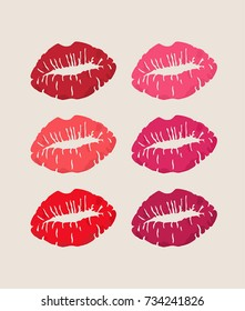 Icon a trace of lips from a kiss. The trace of the kiss in different colors.