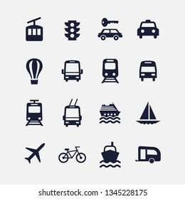 Icon transport set. Vector illustrations with car, boat, plane, train, tram, bus simbols.