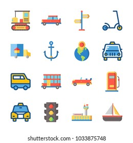icon Transportation with sail boat, sport  car, gas station, direction sing and van