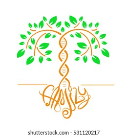 Icon of a tree with a trunk DNA� as a concept of family