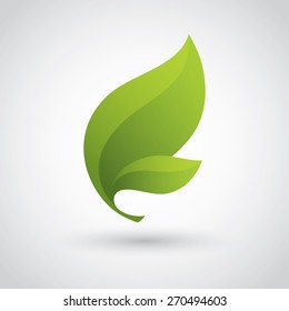 Icon with two bright green leaves for eco friendly, organic, natural or bio product concept