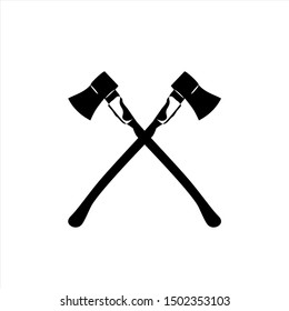 Icon two crossed axes. Vector drawing. Black silhouette. Isolated object on a white background.