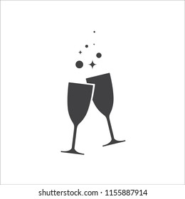 Icon of two glasses of champagne.on white background