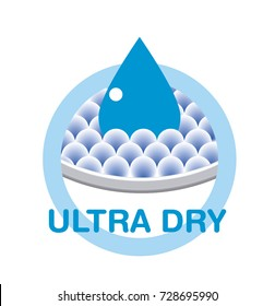 Icon of Ultra Dry or absorption, usable for looter, nappy, diaper, compress, napkin, serviette...