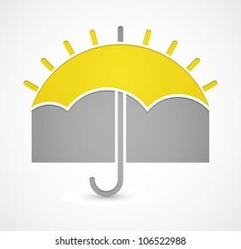 Icon with umbrella or sun on theme weather