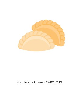 icon for use as pastry sign and logo such as curry puff, flat design