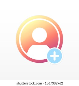 Icon, user avatar, social networking. Social media Instagram icon avatar user history video streaming colorful gradient. Color avatar for social networks. The concept of avatars, on a white background