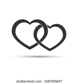 Icon Valentine a pair of intertwined hearts on a white background . Vector