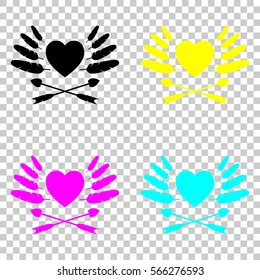 icon of valentine's day with heart, feathers and arrows. Colored set of cmyk icons on transparent background.