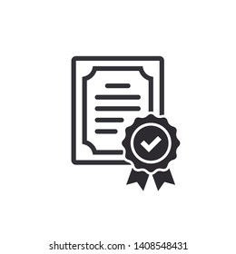 Сertificate icon. Vector certificate icon. License icon. Certificate icon. Premium quality. Achievement badge. Quality mark. Check mark. Vector check mark.
