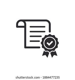 Сertificate icon. Vector certificate icon. License icon. Premium quality. Achievement badge. Quality mark. Check mark. Vector check mark. Approved. Extended license. Contract. Agreement.