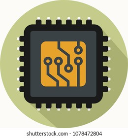 Icon vector computer chip. Flat style Icon Computer processor with microcircuits (CPU). Illustration Computer electronic chip cpu processor