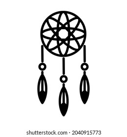 Icon vector graphic of dream cather. American Indian designed element traditional art. Icons in line style. Good for prints, posters, flyers, advertisements, announcements, logo, etc.