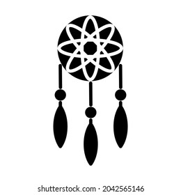 Icon vector graphic of dream cather. American Indian designed element traditional art. Icons in black and white style. Good for prints, posters, flyers, advertisements, announcements, logo, etc.
