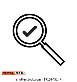 Icon vector graphic of magnifying glass  approved, good for template