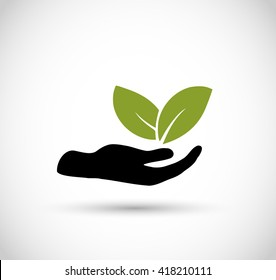 Icon vector -hand with leaf