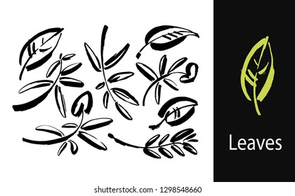 Icon vector leaf. Eco nature healthy concept. Green natural plant symbol. Logo sign design. Modern brush ink illustration isolated on white background