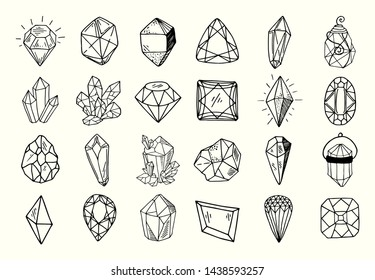 Icon vector outline set - crystals or gems, on white background, symbols collection with gemstones, quarts, minerals, diamonds, hand drawn or doodle illustration